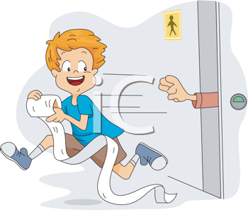 Royalty Free Clipart Image of a Child Stealing Toilet Paper Out of a Public Restroom