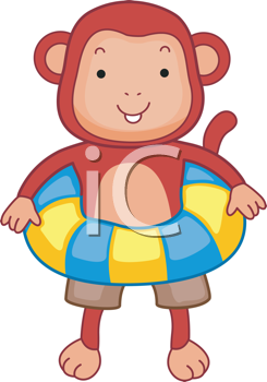 Royalty Free Clipart Image of a Monkey Wearing an Inner Tube