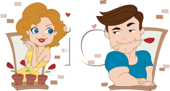 Royalty Free Clipart Image of a Man Flirting With a Neighbour Through a Window