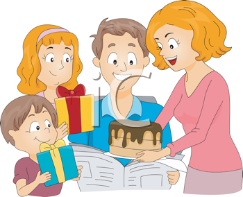 Royalty Free Clipart Image of a Family Celebrating a Father's Birthday or Father's Day