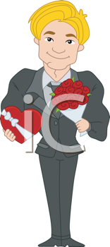 Royalty Free Clipart Image of a Man in a Suit With Flowers and Candy