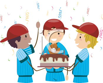 Royalty Free Clipart Image of a Baseball-Themed Birthday Party
