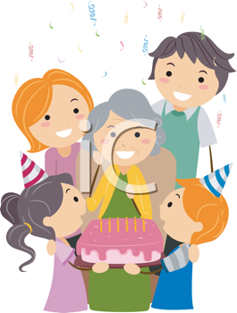 Royalty Free Clipart Image of a Family Helping a Grandmother Celebrate Her Birthday