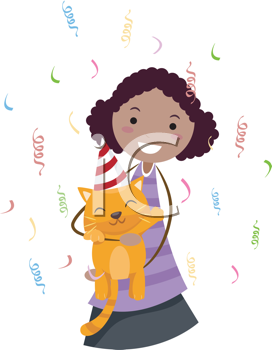 Royalty Free Clipart Image of a Girl Celebrating a Birthday With a Cat
