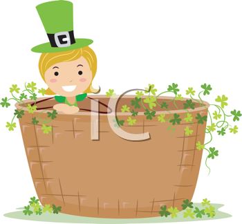 Royalty Free Clipart Image of a Girl Inside a Giant Basket With Shamrocks