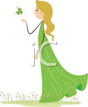 Royalty Free Clipart Image of a Woman Catching a Shamrock