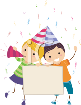 Royalty Free Clipart Image of Children Holding a Banner