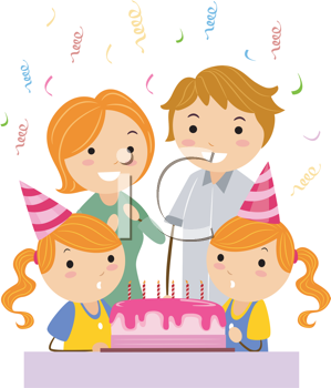 Royalty Free Clipart Image of a Family Celebrating Twin Girls' Birthday
