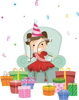 Royalty Free Clipart Image of a Little Girl Looking at Her Gifts