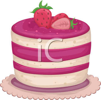 Royalty Free Clipart Image of a Strawberry Cake