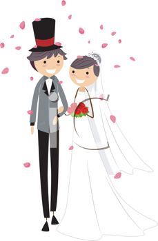 Royalty Free Clipart Image of a Newlywed Couple Showered With Rose Petals