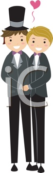 Royalty Free Clipart Image of a Married Gay Couple