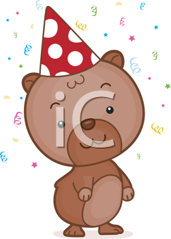 Royalty Free Clipart Image of a Hamster Wearing a Party Hat