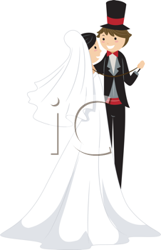 Royalty Free Clipart Image of a Bride and Groom Dancing