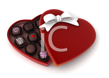 Illustration of a Partially Open Gift Filled with Chocolates