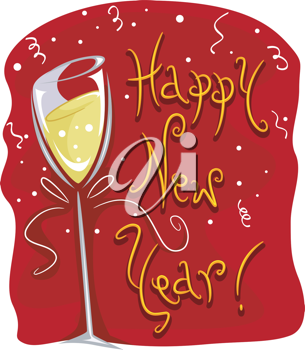 Illustration of a Wineglass with New Year Greetings