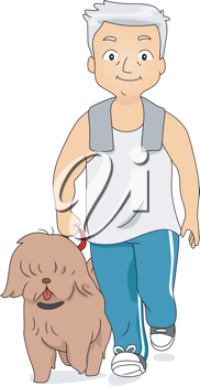 Illustration of an Old Man Taking His Dog for a Walk
