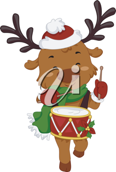Illustration of a Reindeer Playing the Drums