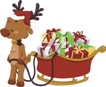Illustration of a Reindeer Pulling a Sled Full of Gifts