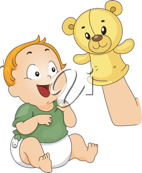 Illustration of a Baby Being Entertained with a Sock Puppet