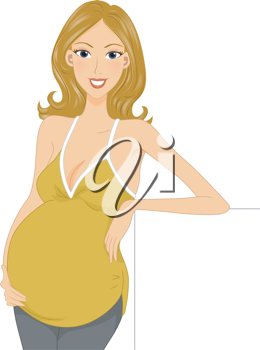 Illustration of a Pregnant Girl Leaning on a Piece of Board