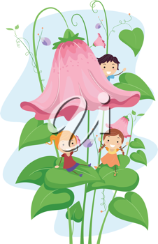 Illustration of Kids Playing On a Giant Flower