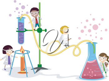 Illustration of Kids Playing in a Laboratory