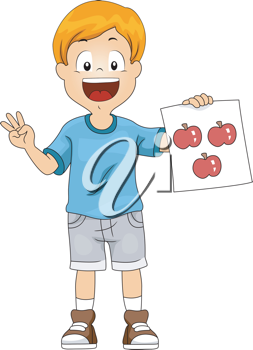Illustration of a Kid Holding a Flashcard