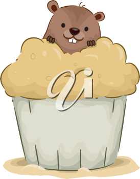 Illustration of a Groundhog Peeking From Behind a Cupcake