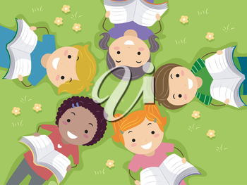 Royalty Free Clipart Image of Children Reading Books in a Field