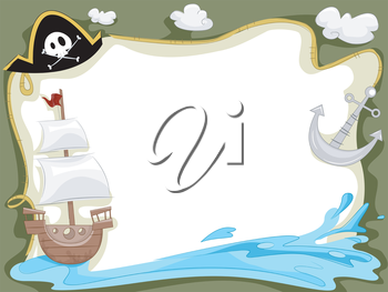 Royalty Free Clipart Image of a Pirate Ship Frame