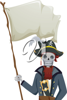 Royalty Free Clipart Image of a Skeleton With a Blank Flag