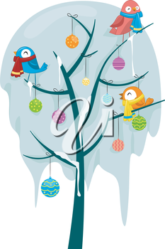 Royalty Free Clipart Image of Birds in a Tree Wearing Scarves