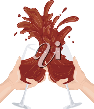 Royalty Free Clipart Image of Hands Clinking Wineglasses