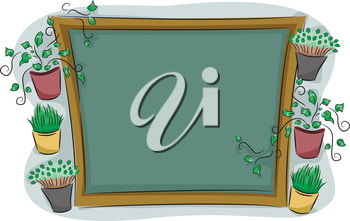 Royalty Free Clipart Image of a Frame Surrounded by Plants