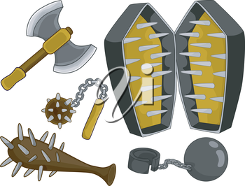 Royalty Free Clipart Image of Medieval Torture Devices