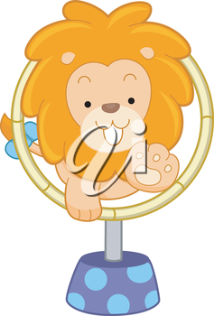 Royalty Free Clipart Image of a Lion Jumping Through a Hoop