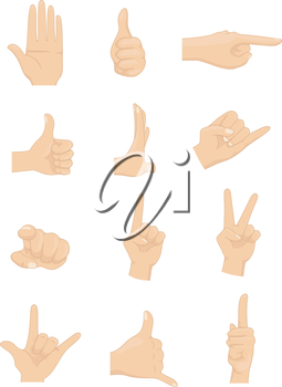 Royalty Free Clipart Image of Hand Signs
