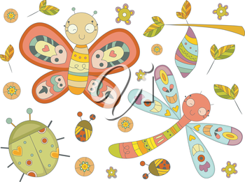 Royalty Free Clipart Image of Insects