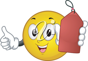 Royalty Free Clipart Image of a Smiley Face Holding a Red Tag