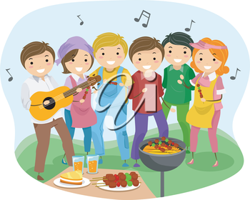 Royalty Free Clipart Image of People Having a Barbecue