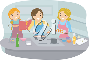 Royalty Free Clipart Image of Women in a Kitchen