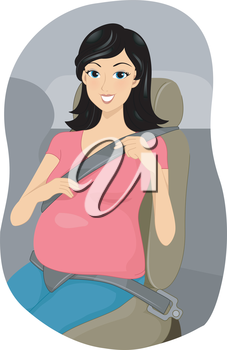 Royalty Free Clipart Image of a Pregnant Woman Wearing a Seatbelt