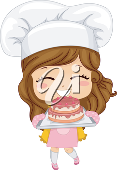 Royalty Free Clipart Image of a Little Girl Baking a Cake