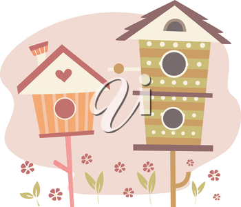 Illustration of Cute Bird Houses