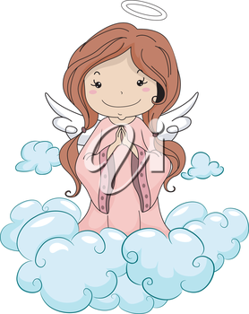 Illustration of a Girl Angel Praying while Kneeling on the Clouds