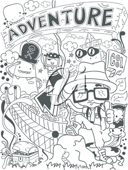 Illustration of a Doodle with an Adventure Theme