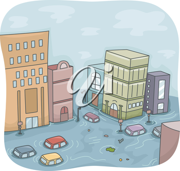 Illustration of a Flooded City with Cars Floating Around