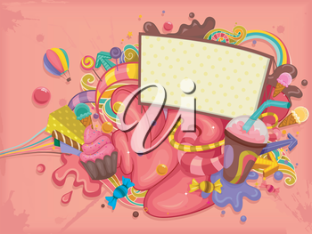 Illustration of Blank Billboard with Colorful Candies and Sweets