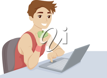 Illustration of a Guy Checking Fitness Tips on the Internet